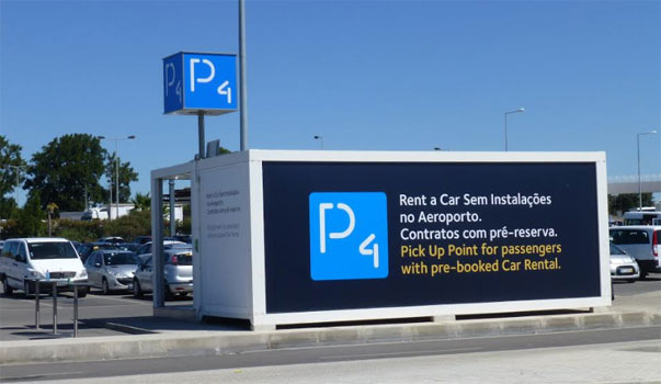 Faro Airport car rental centre on parking P4